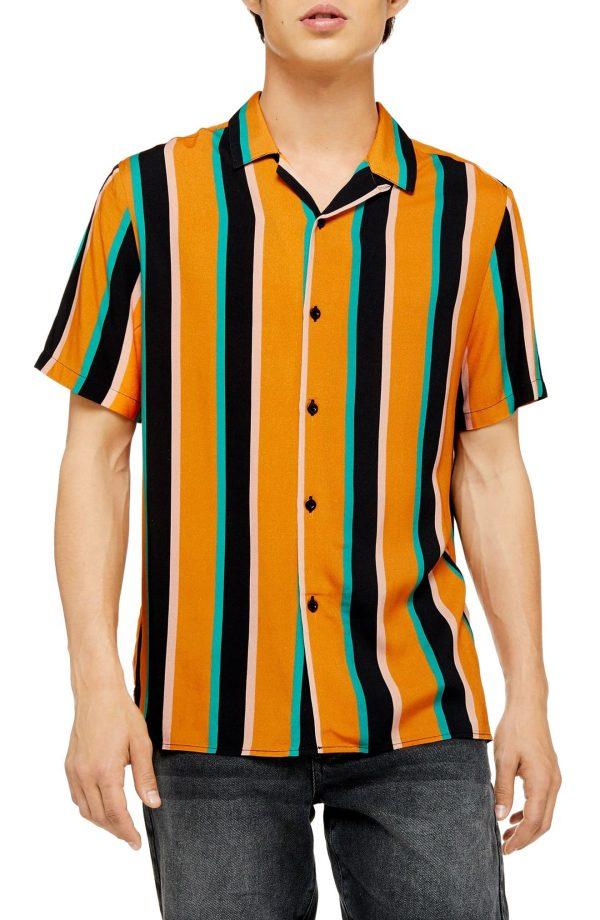Men's Topman Slim Fit Stripe Short Sleeve Button-Up Camp Shirt, Size Small - Orange
