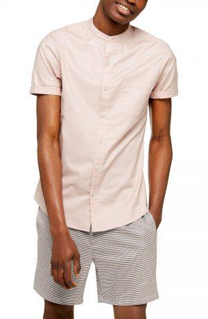 Men's Topman Stand Collar Skinny Short Sleeve Button-Up Shirt, Size Medium - Pink