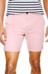 Men's Topman Stretch Skinny Chino Shorts, Size 32 - Pink