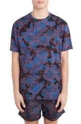 Men's Valentino Diamond Logo Camo T-Shirt, Size Small - Blue