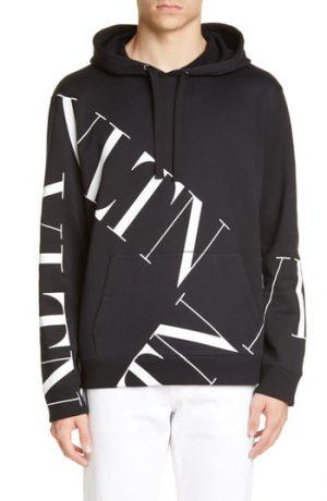 Men's Valentino Vltn Print Hoodie, Size X-Small - Black