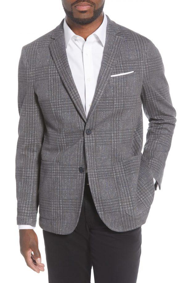 Men's Vince Camuto Slim Fit Crosshatch Performance Blazer, Size Medium - Grey