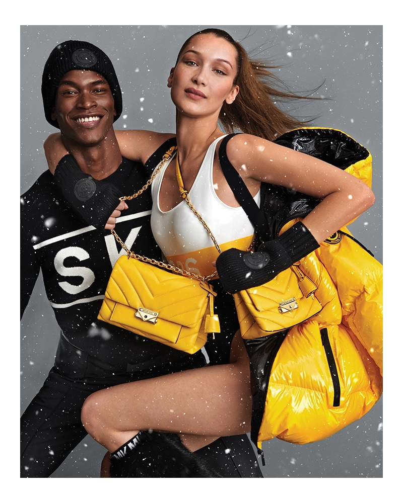 Models Salomon Diaz and Bella Hadid come together for the Michael by Michael Kors holiday 2019 campaign.