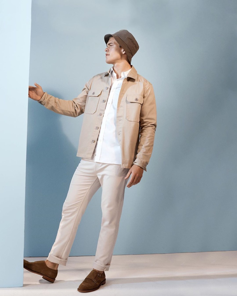 Linking up with Banana Republic, Mitchell Slaggert wears smart separates.