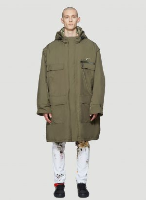 Off-White Removable Sleeve Parka Coat in Green size S