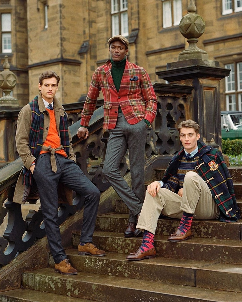 Models Jegor Venned, Hamid Onifade, and Angus Eaton travel to Scotland in POLO Ralph Lauren's fall-winter 2019 collection.