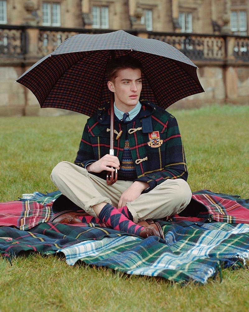 Angus Eaton sports a collegiate look from POLO Ralph Lauren's fall-winter 2019 collection.