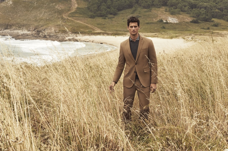 Donning a brown suit, Garrett Neff fronts Pedro del Hierro's winter 2019 campaign.