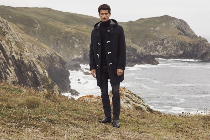 Front and center, Garrett Neff dons a duffle coat for Pedro del Hierro's winter 2019 campaign.