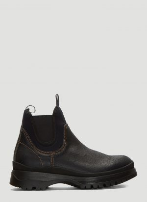 Prada Brixxen Leather and Neoprene Boots in Black size UK - 08