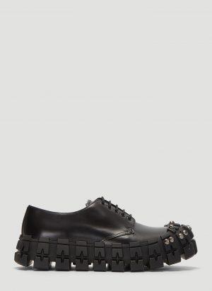 Prada Studded Brushed Leather Shoes in Black size UK - 09