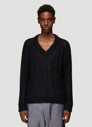Prada V-Neck Open-Knit Sweater in Black size EU - 46