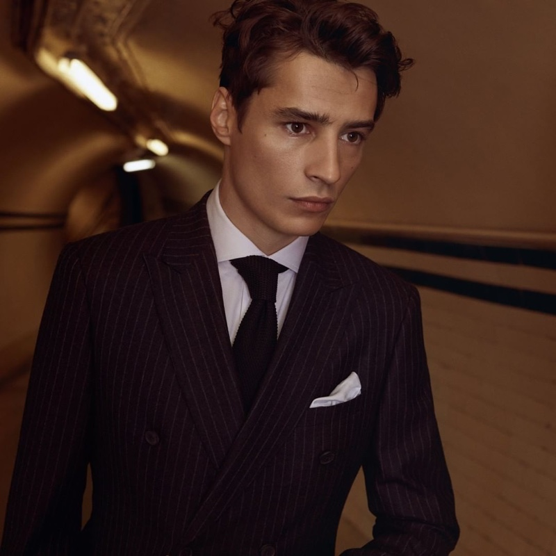 French model Adrien Sahores dons a sharply tailored suit for Reiss' fall-winter 2019 campaign.