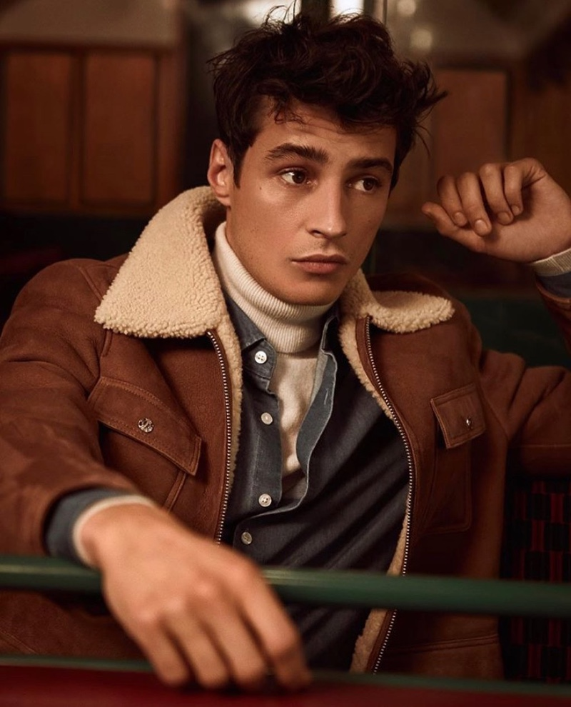 Sporting a shearling jacket, Adrien Sahores appears in Reiss' fall-winter 2019 campaign.