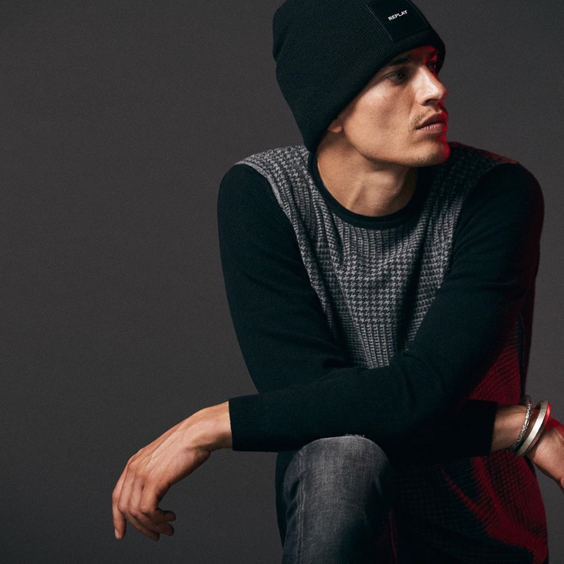 Going casual, Marco Vinante fronts Replay's fall-winter 2019 campaign.