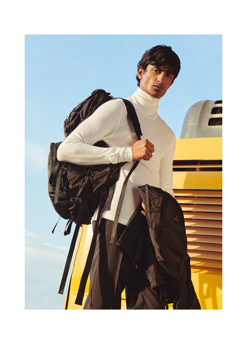 Sporting Prada, Rishi Robin connects with YOOX for a fall style edit.