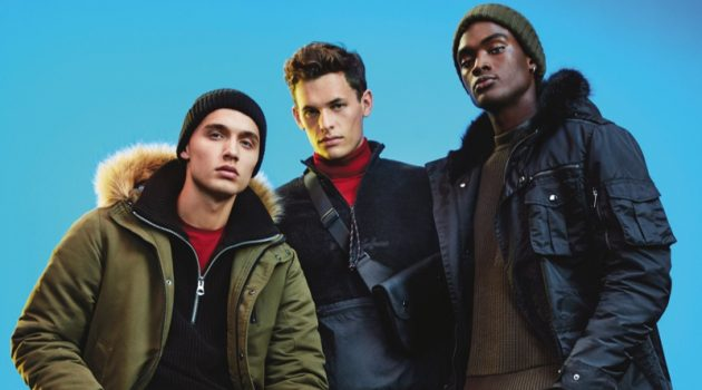 Models Dom Stowell, Maximilian Wefers, and Davidson Obennebo wear fashions from River Island's Electric Xmas collection.