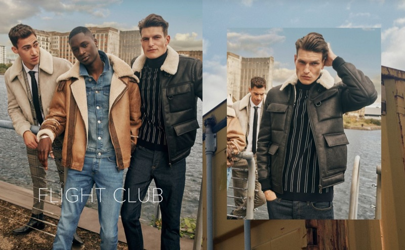 Channeling aviator style, Alessio Pozzi, Junior Choi, and John Todd sport shearling and borg jackets by River Island.
