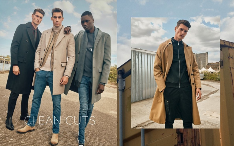 Embracing clean lines, John Todd, Alessio Pozzi, and Junior Choi wear River Island overcoats.