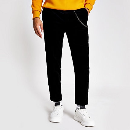 River Island Mens Black chain tapered cord trousers