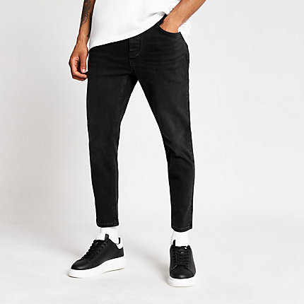 River Island Mens Black wash Jimmy tapered cropped jeans