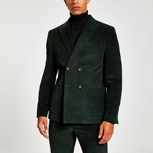 River Island Mens Green cord double breasted skinny suit jacket