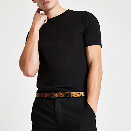 river island mens luxe black slim fit t shirt the. Black Bedroom Furniture Sets. Home Design Ideas