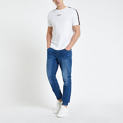 River Island Mens Mid blue Ryan skinny denim jogger jeans