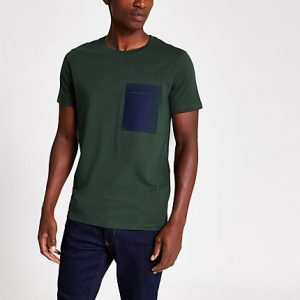River Island Mens Selected Homme green chest pocket T-shirt