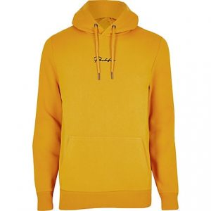 River Island Mens Yellow Prolific slim fit hoodie