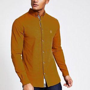 River Island Mens Yellow slim fit long sleeve Oxford shirt