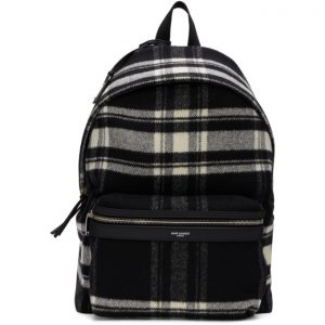 Saint Laurent Black and Off-White Wool Check City Backpack