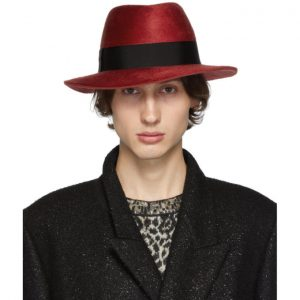 Saint Laurent Red Felt Fedora