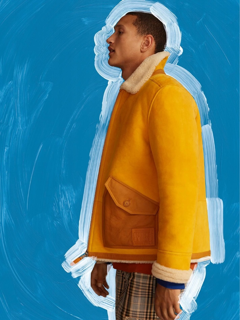 Front and center, Bruno Sitton inspires in Scotch & Soda's yellow shearling jacket $1,195.