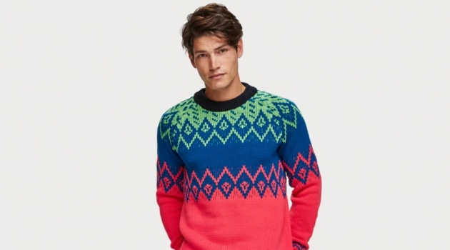 A bright take on traditional Fairisle knit popular around the holiday season – very 90s inspired.