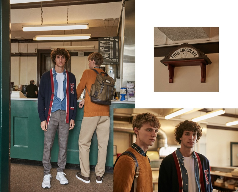Embracing preppy style, Francisco Henriques and Max Barczak come together for Sfera's fall 2019 campaign.