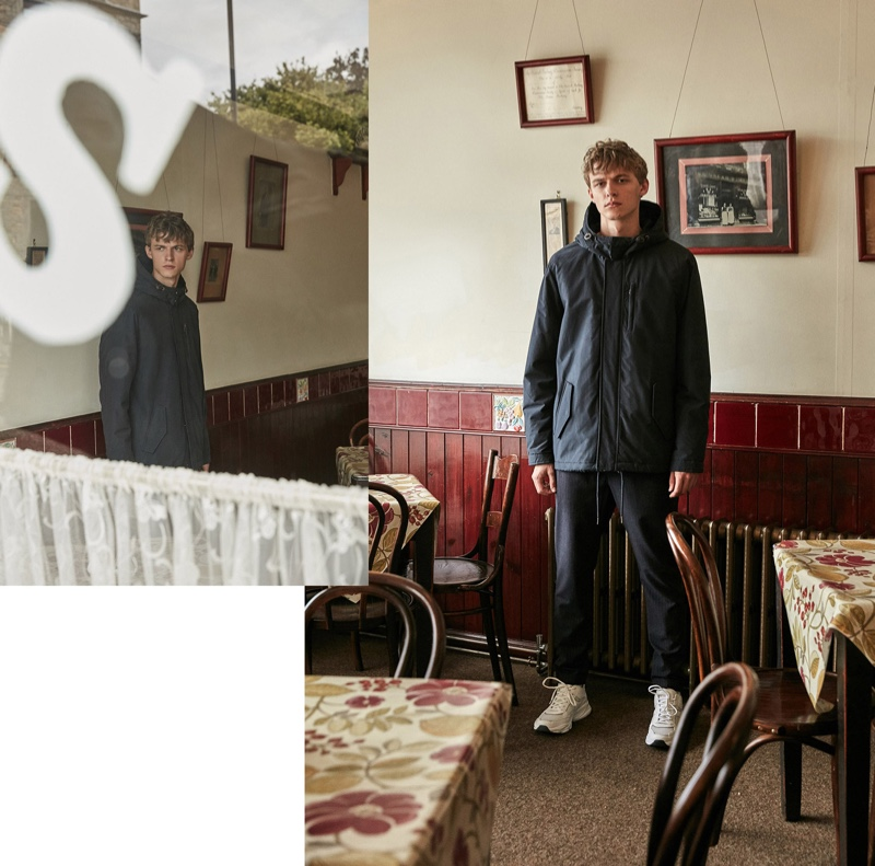 Front and center, Max Barczak models a sporty look for Sfera's fall 2019 campaign.