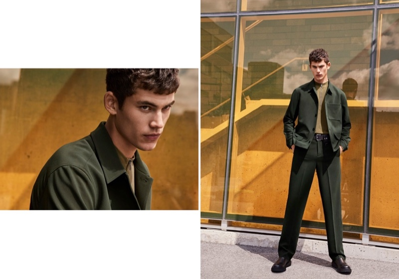 Connecting with Simons for fall, Finn Hayton sports a neo-utilitarian jacket by LE 31.