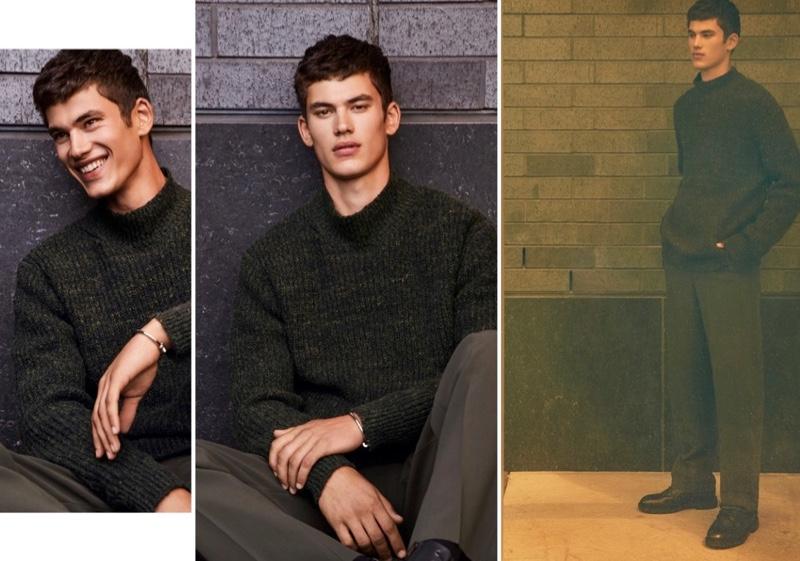 Model Finn Hayton wears a LE 31 minimalist knit mock-neck sweater.