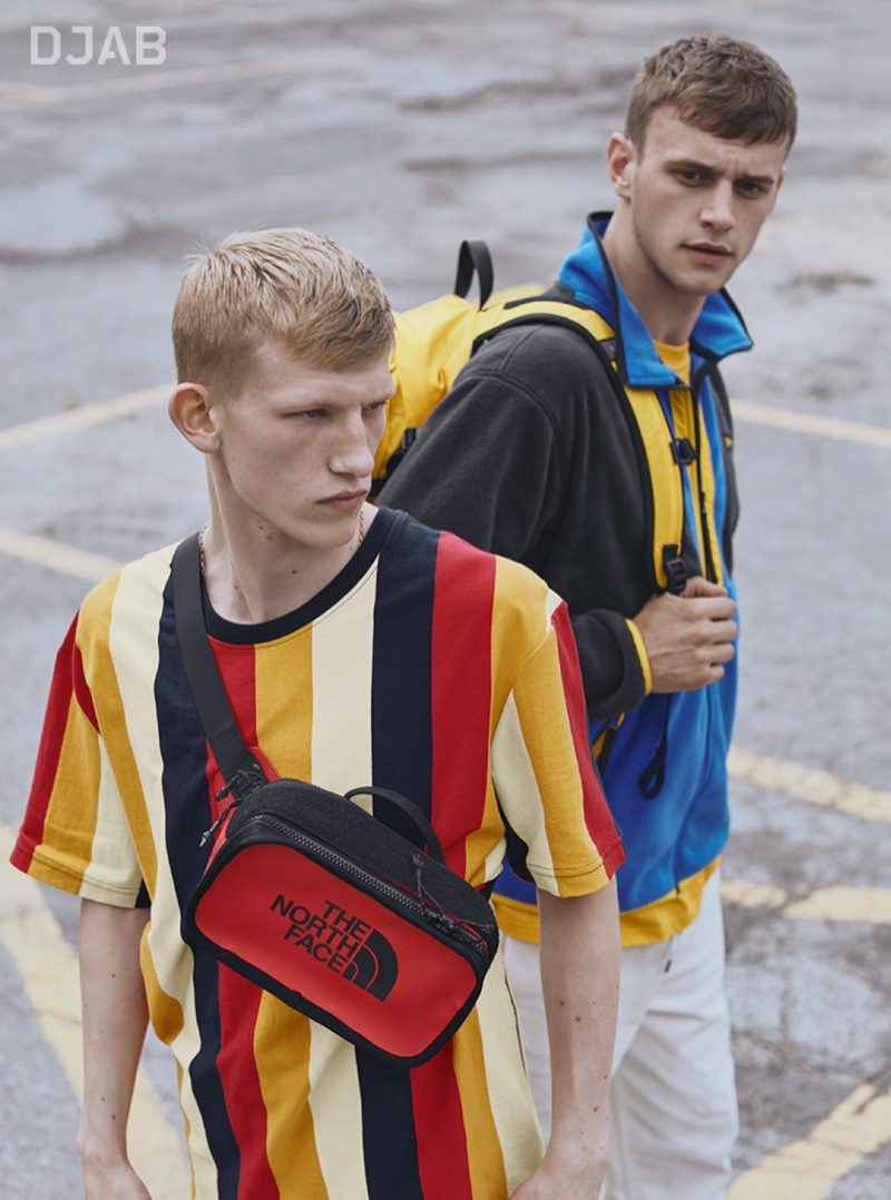 Models Connor Newall and Ben Overthrow model colorful fashions from DJAB and Simons.
