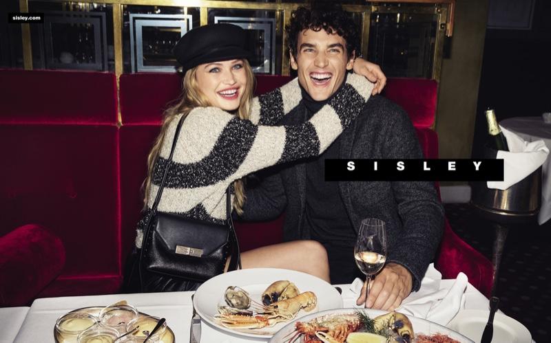 All smiles, Camilla Christensen and Federico Novello front Sisley's fall-winter 2019 campaign.