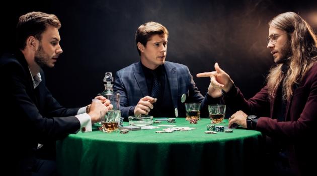 Stylish Men Playing Poker