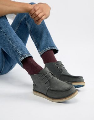 TOMS chukka waterproof lace up boots in gray suede