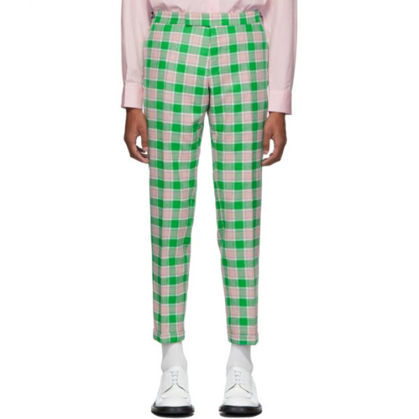 Thom Browne Green and Pink Flannel Check Trousers