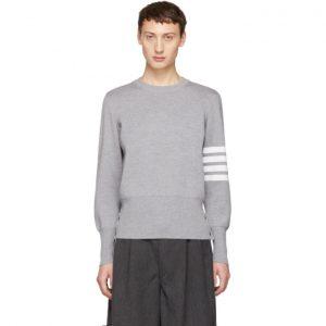 Thom Browne Grey Milano Stitch Four Bar Crewneck Sweater