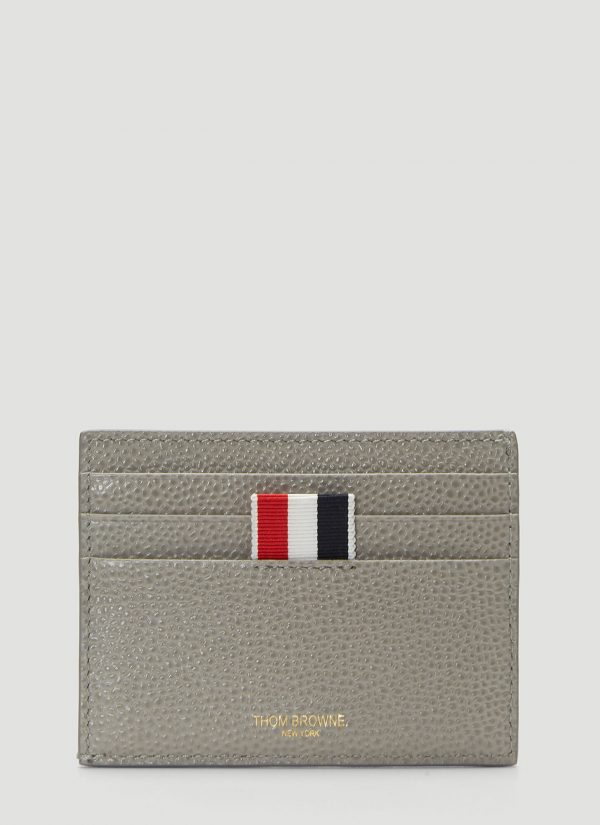 Thom Browne Pebbled Leather Card Holder in Grey size One Size