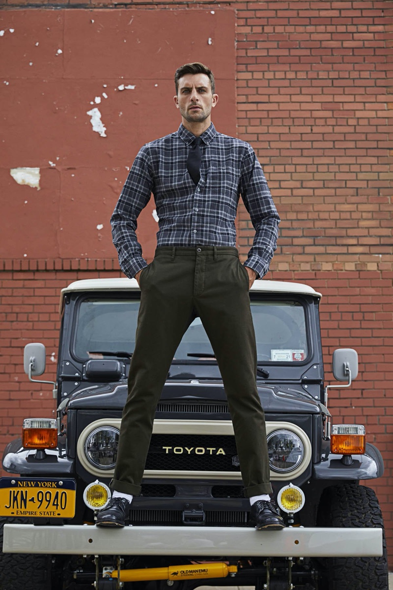 Front and center, Rafael Lazzini sports a Todd Snyder flannel shirt $178 and chinos $228.