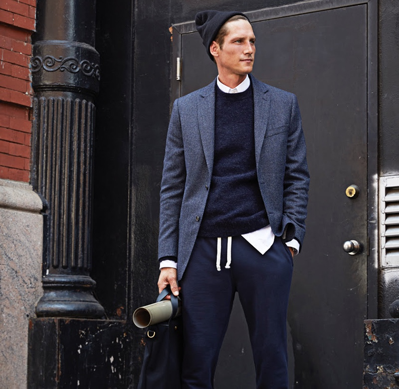 Sporting smart separates, Roch Barbot wears a Todd Snyder navy alpaca sweater $198 with a Sutton lambswool/cashmere herringbone sport coat $498 and Todd Snyder + Champion classic sweatpants $128.