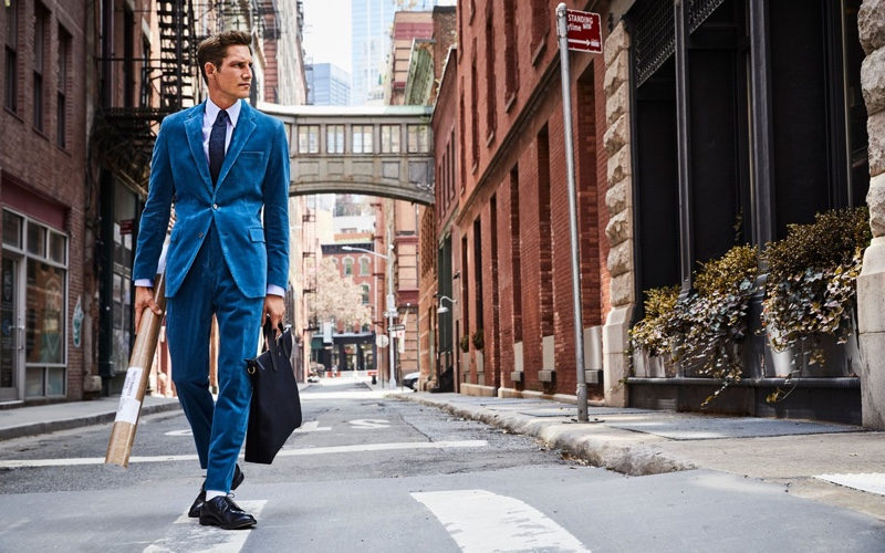 Making a statement, Roch Barbot sports a Todd Snyder Italian stretch cord Sutton suit $1,046 in teal.