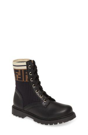 Toddler Fendi Lace-Up Boot, Size 9.5US / 26EU - Black